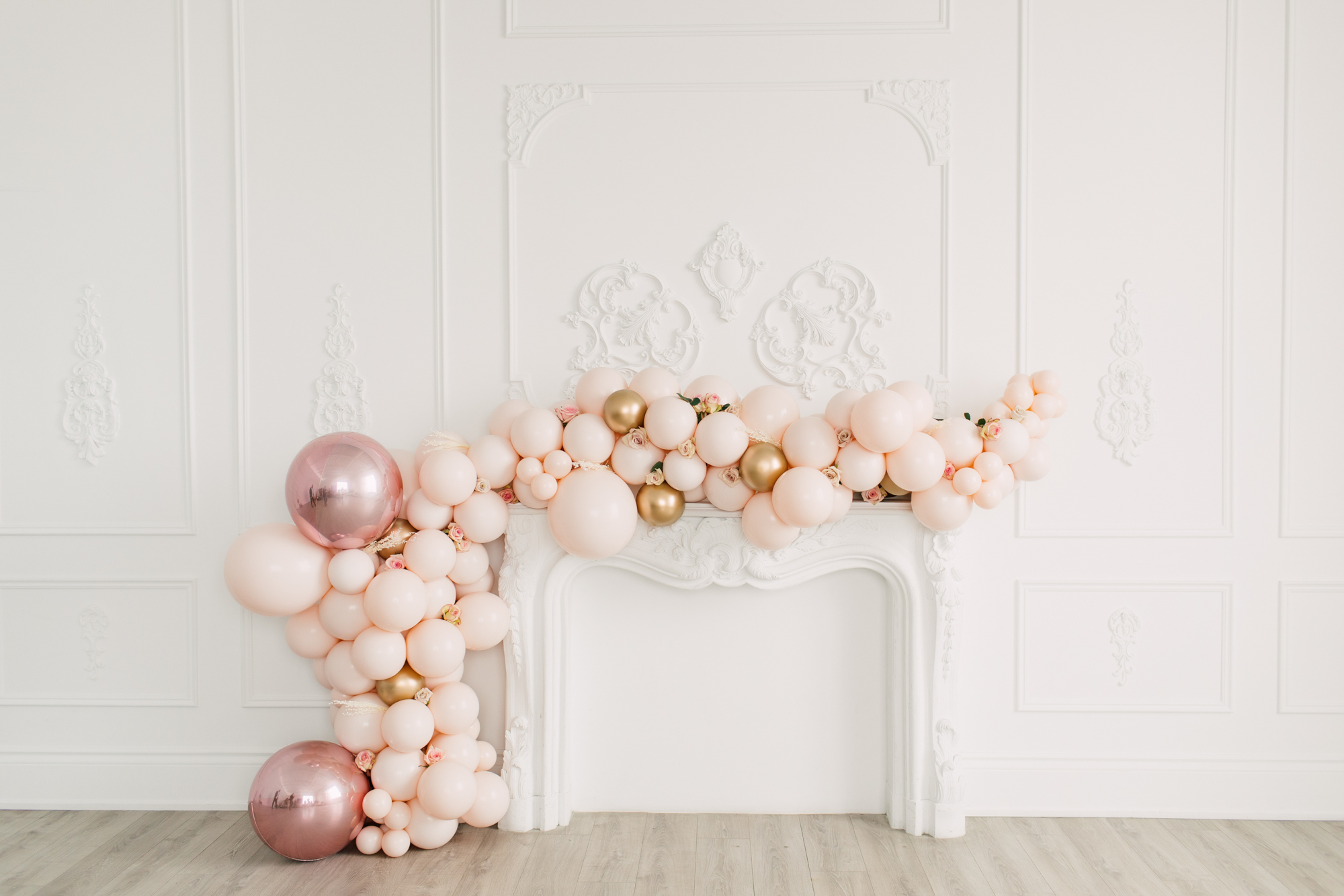 pink balloons fireplace