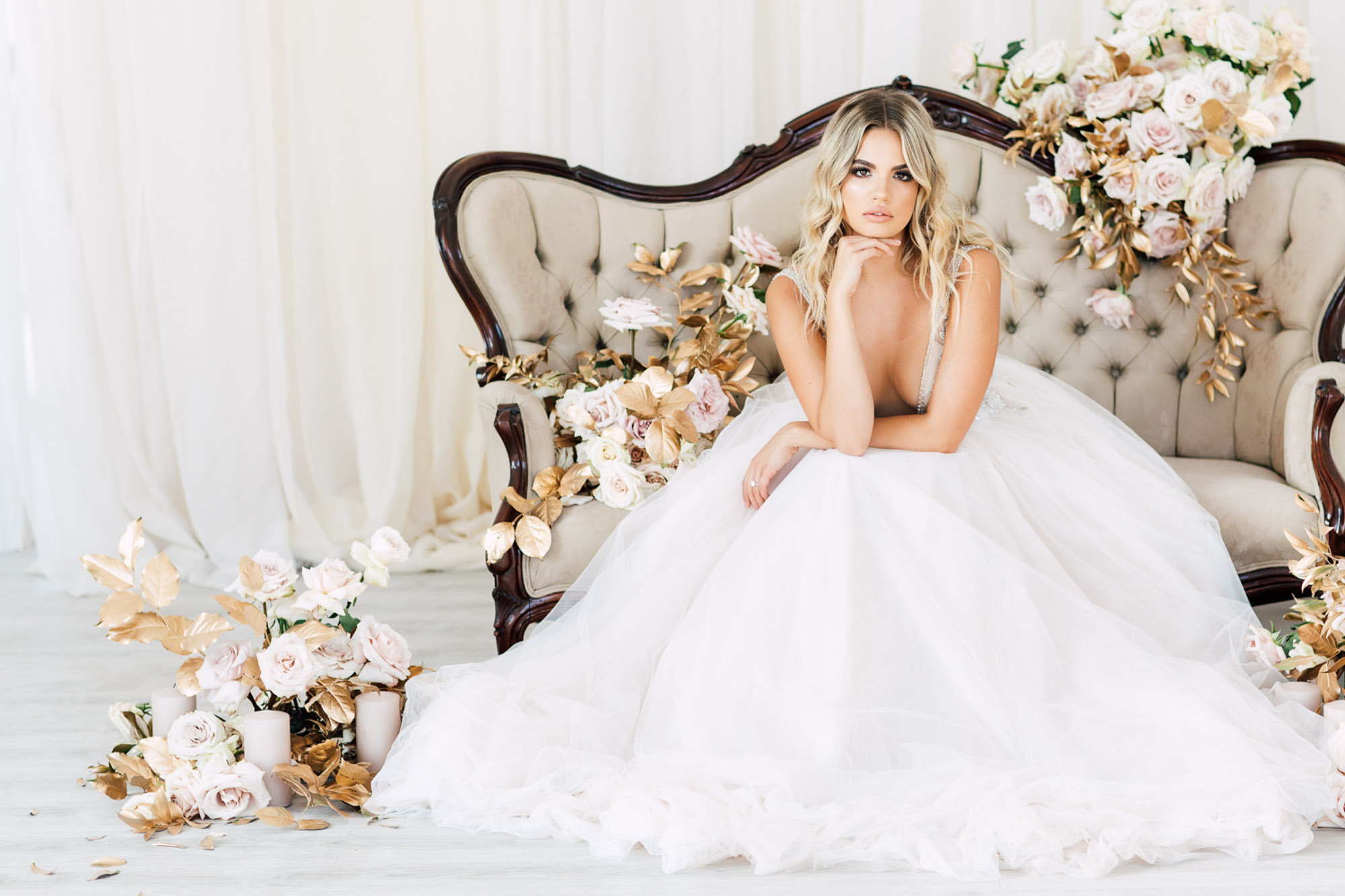 stunning bride gown sofa