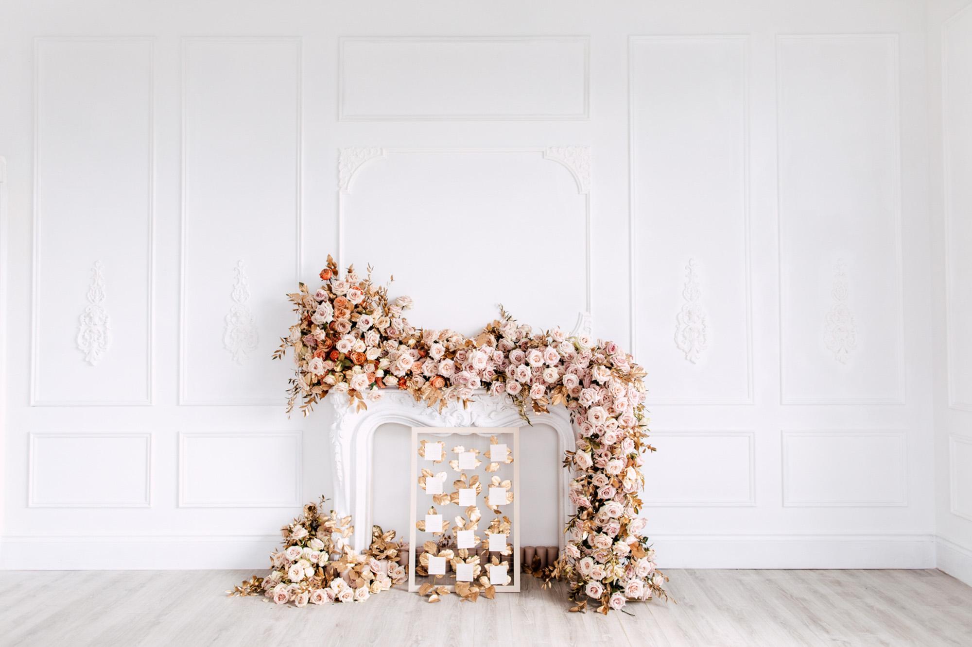 pink florals gold