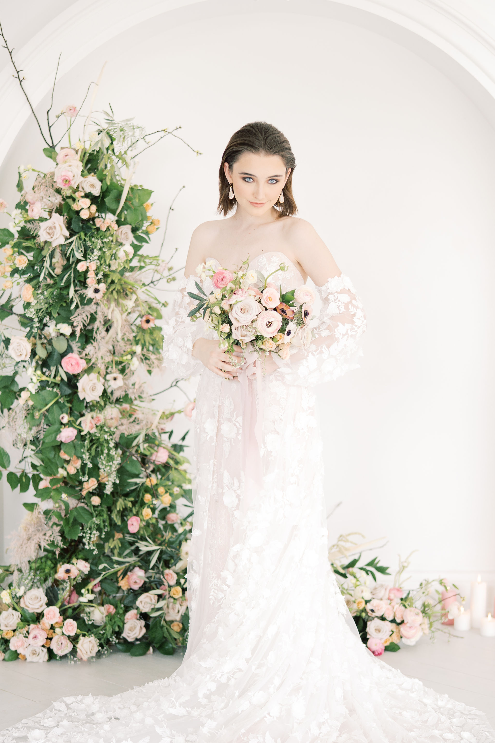 Bridal Portrait with Floral Arch