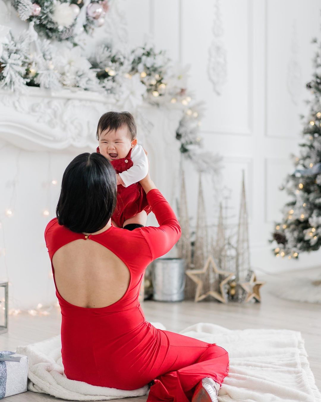 Mommy and Child Christmas Portrait
