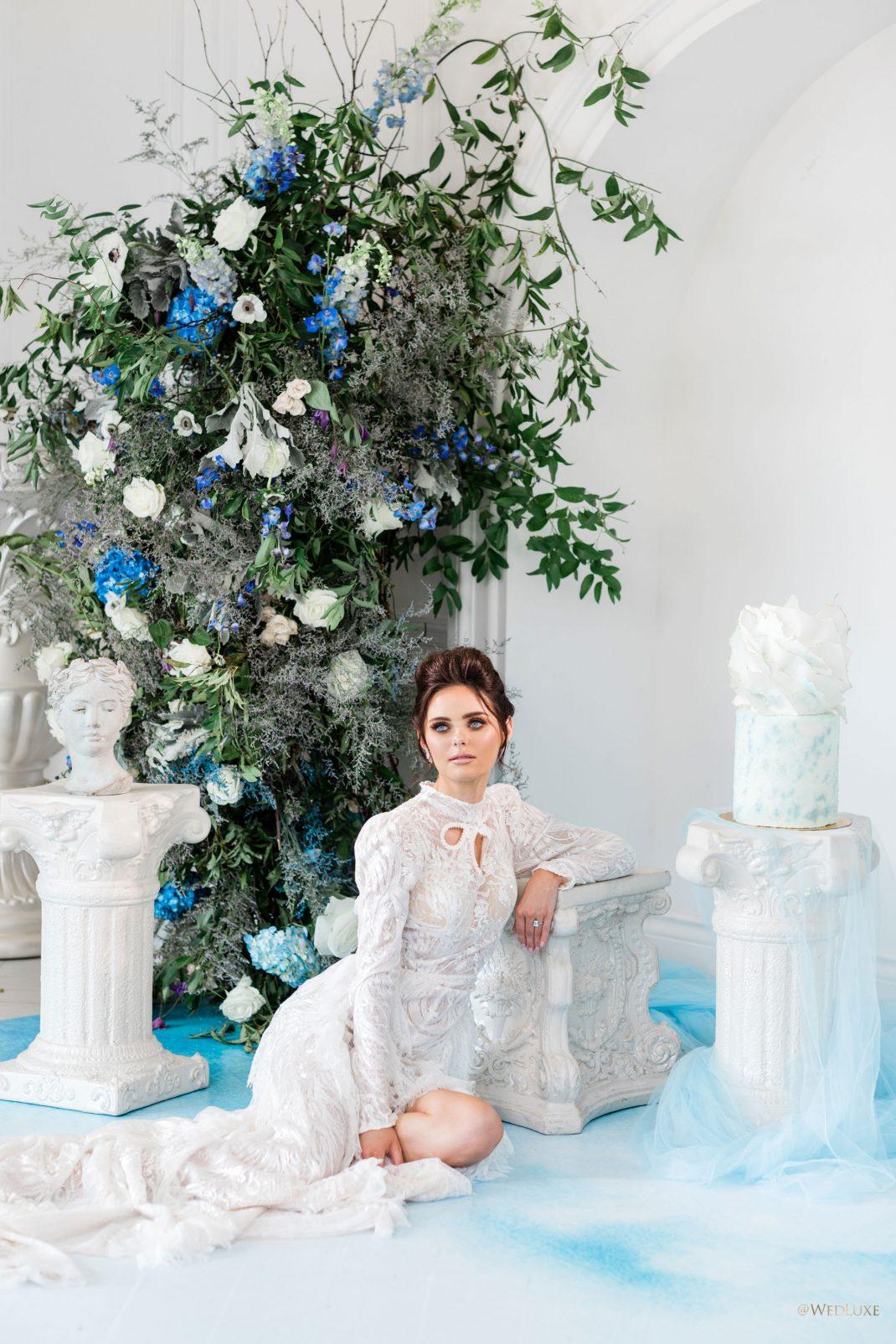 Blue Flower Pedestal Bridal Shoot