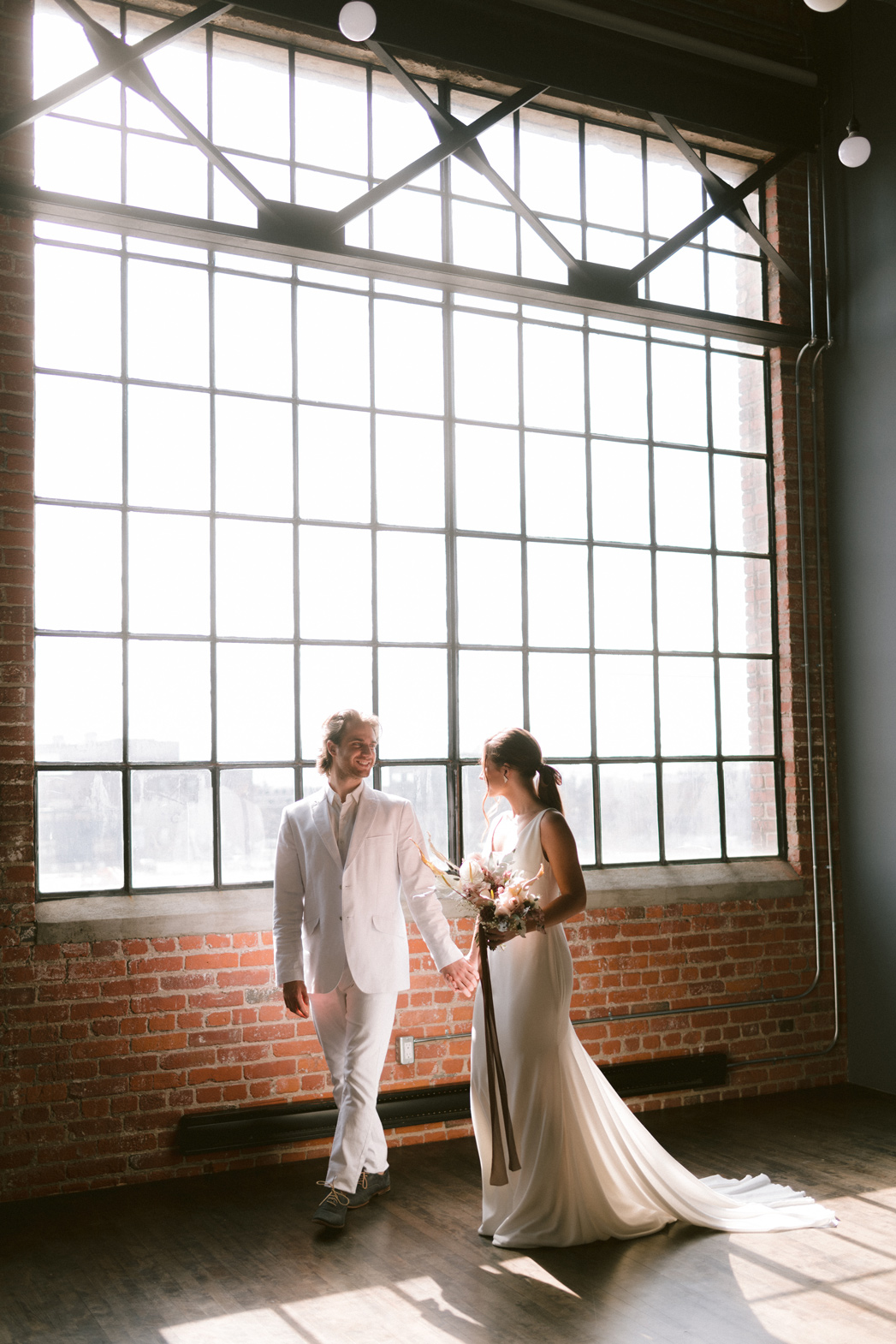 Bride and Groom in a Bright Loft