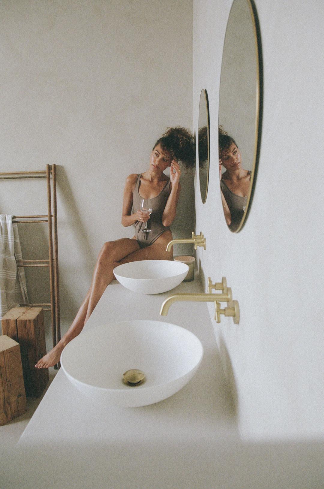 Model posing in a spa studio