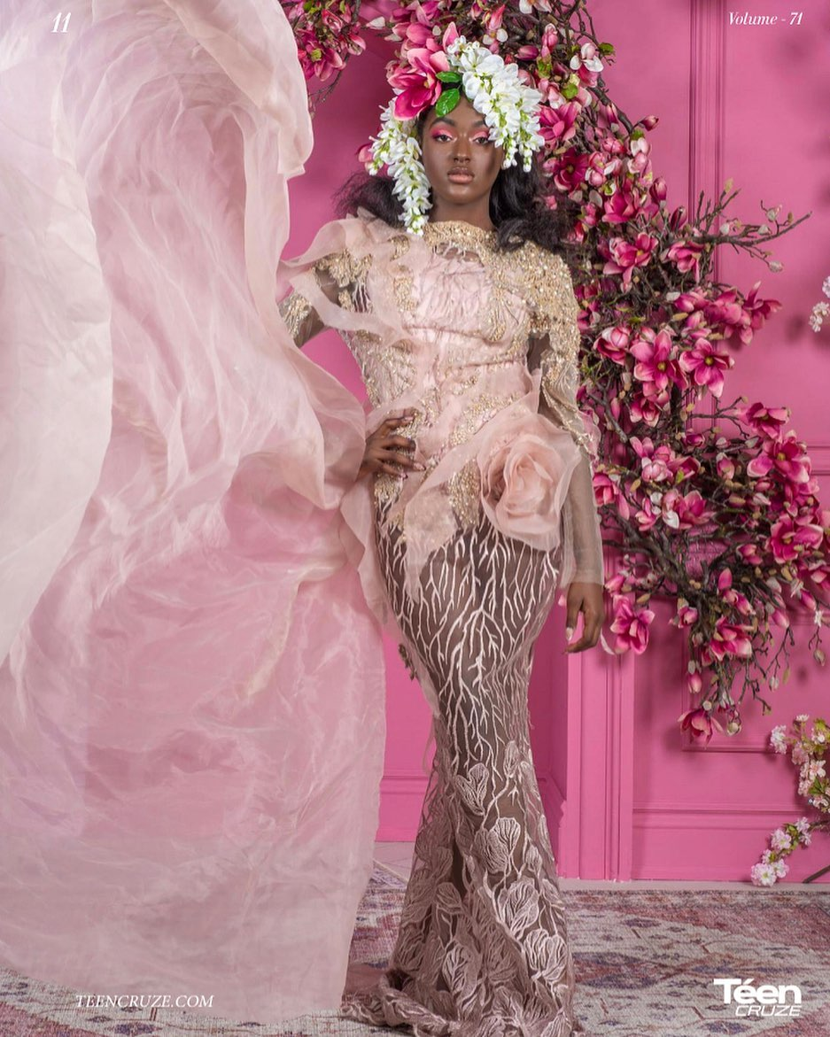 Editorial styled shoot in a pink room with floral accents